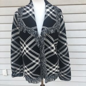 Chico's black white fringe sweater medium
